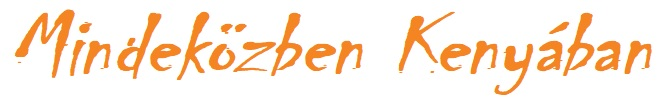 Mindeközben Kenyában logó fehér alapon narancssárga betűkkel